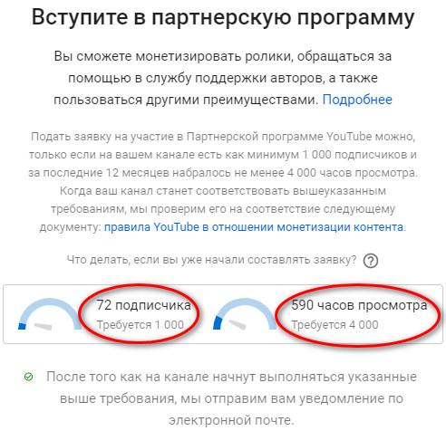 Включить Youtube монтезацию